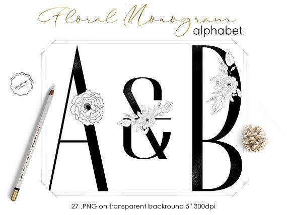 Floral Monogram Letters Clipart Black Alphabet Clip Art Black