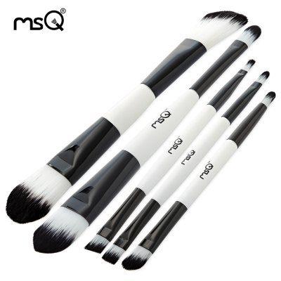 msq 5pcs black white makeup brushes set with storage bag