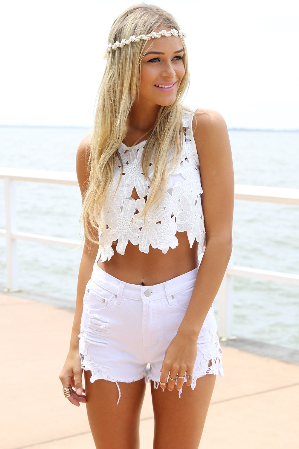 White Shorts - White Denim Cutoff High Waisted | UsTrendy | Skirts ...