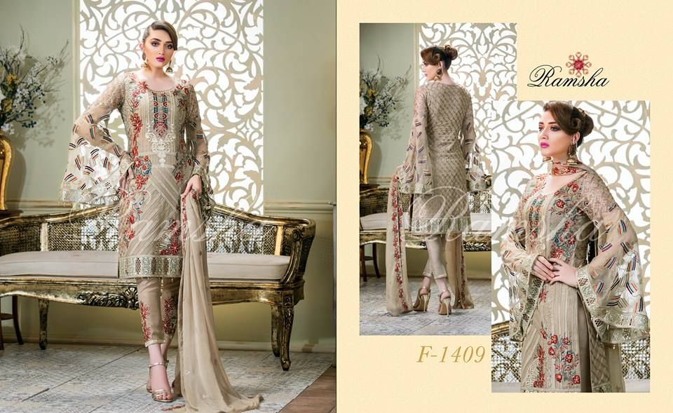 a4871de5fe Perfection Glaze Embroidered Chiffon Collection By Ramsha - PK Vogue ...