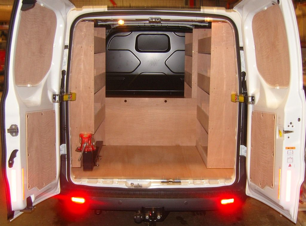 Ford Transit Custom L1 Removable Midway Half Bulkhead Nearside And Offside Shelving And Sliding Vice Holder Wit Van Racking Ford Transit Van Racking Systems