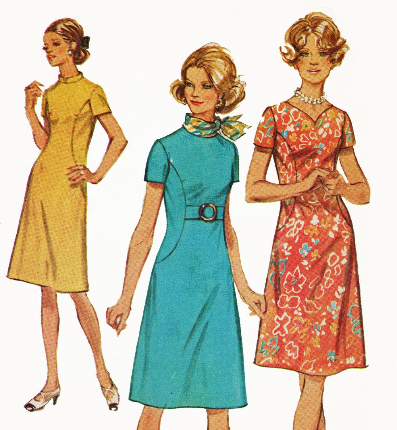 Retro 1970s A Line Dress Pattern With Neck Variations And Etsy Simplicity Patterns Dresses Short Sleeve Dress Pattern Shift Dress Pattern [ 1500 x 1382 Pixel ]