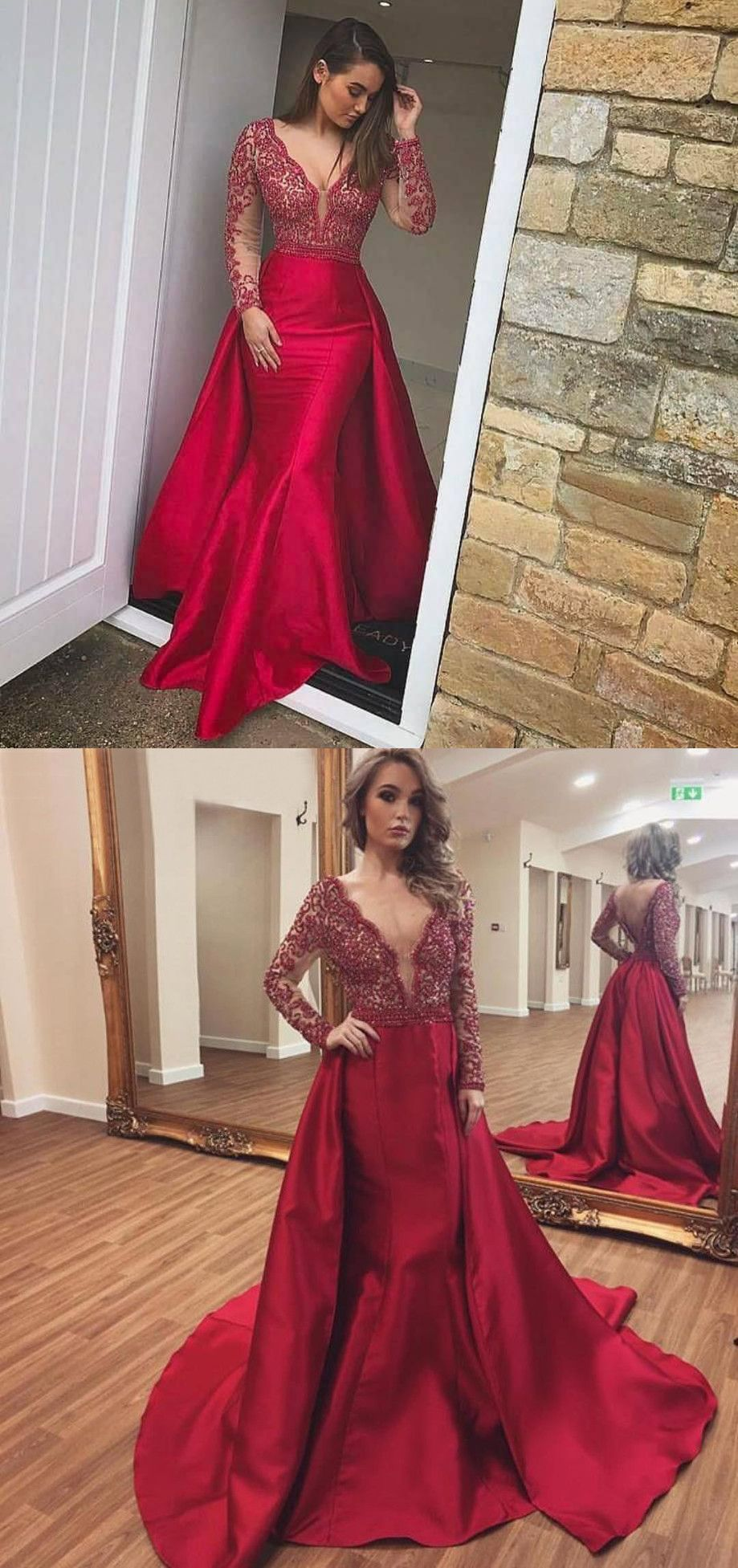 Deep v neck mermaid prom dress with long sleeves wedding