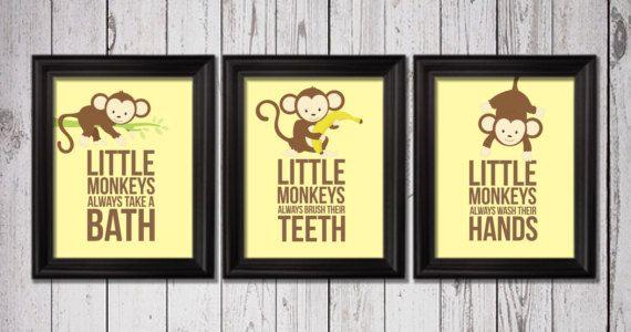 Little monkeys bathroom rules 3 8x10 by RainbowsLollipopsArt, $22.00