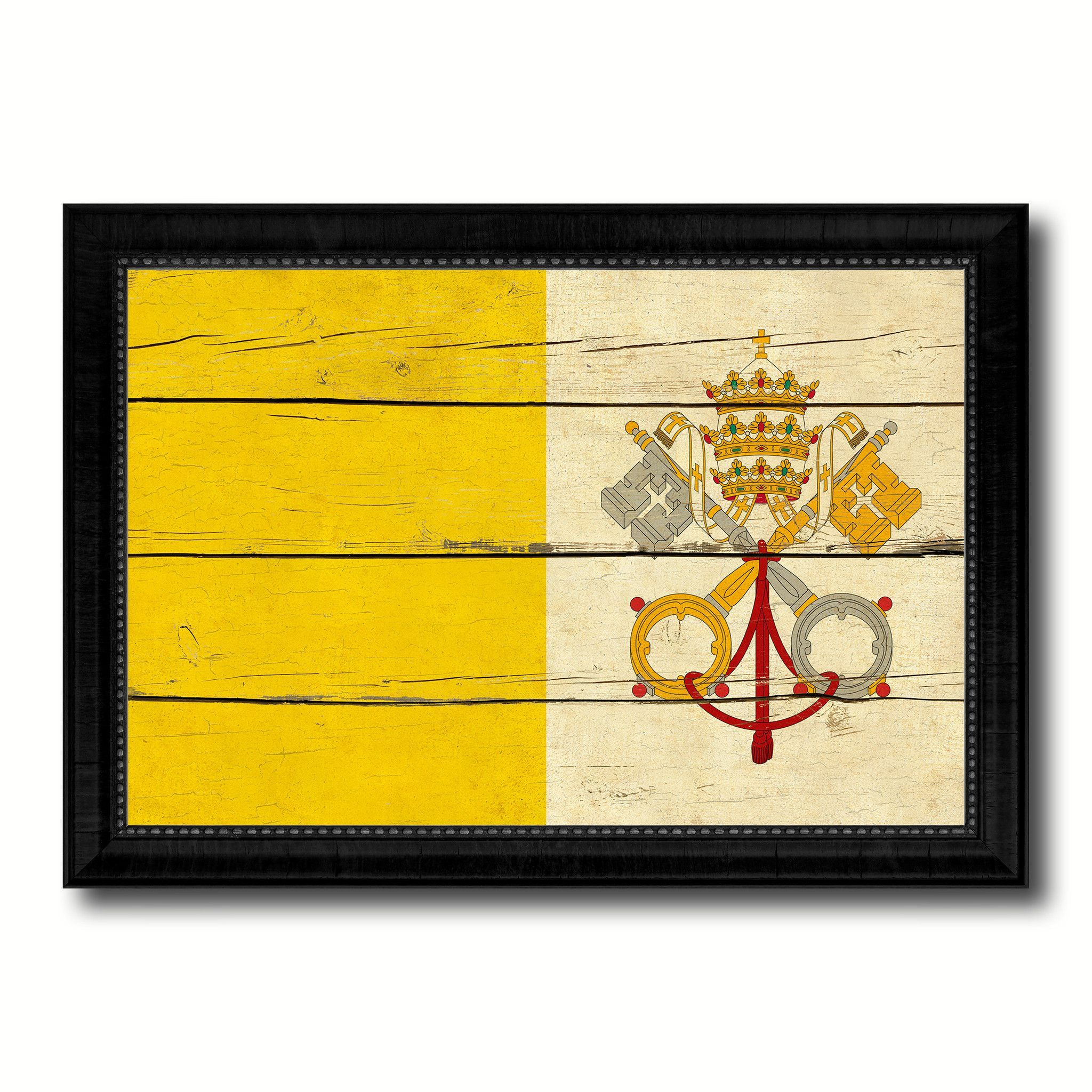 Vatican City Country Flag Vintage Canvas Print with Black Picture ...