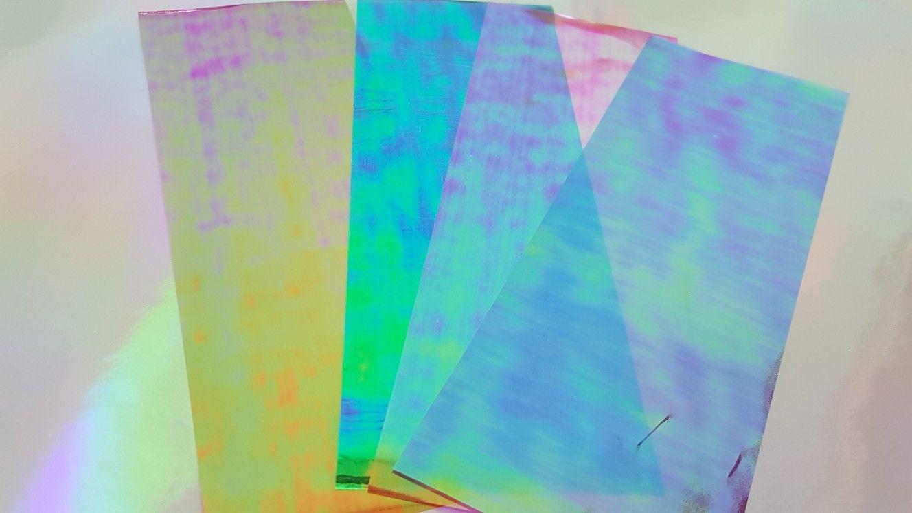 Iridescent Rainbow Film 4 Sheets Green Red Purple Pink 3x8 5 Inches Green Sheets Red Purple Iridescent