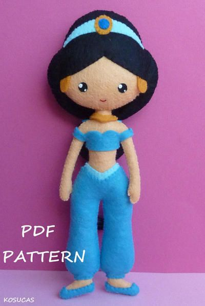 Princesa Jazmín. Patrón PDF de costura en Fieltro