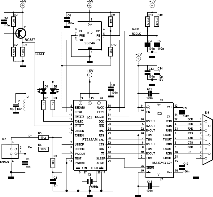 Http Pinout Net Pinout Scheme 478 9 Pin Rs To Usb Electronic Schematics Electrical Projects Electronics Circuit