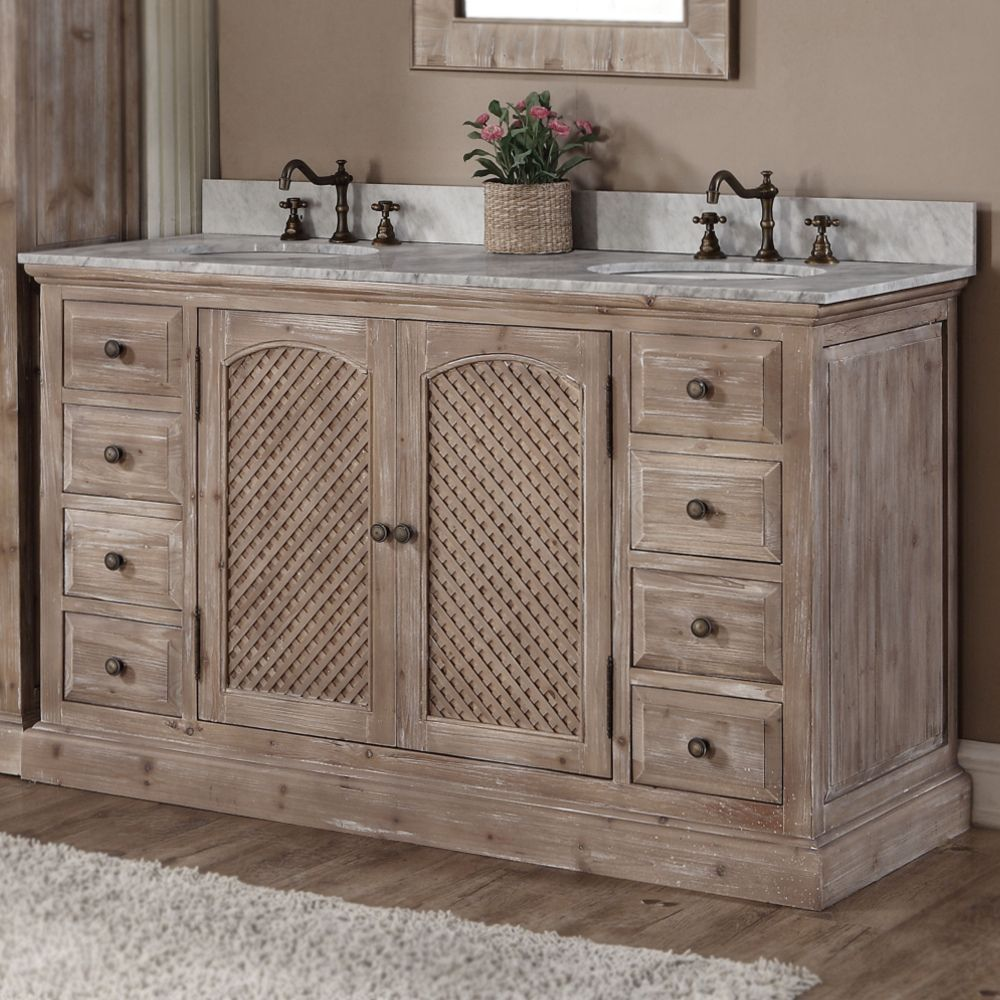 Rustic Style Quartz White Marble Top 60 Inch Double Sink Bathroom