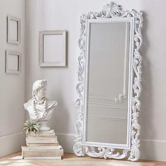 White Ornate Wood Carved Floor Mirror | Decor & Furniture | Decor ...