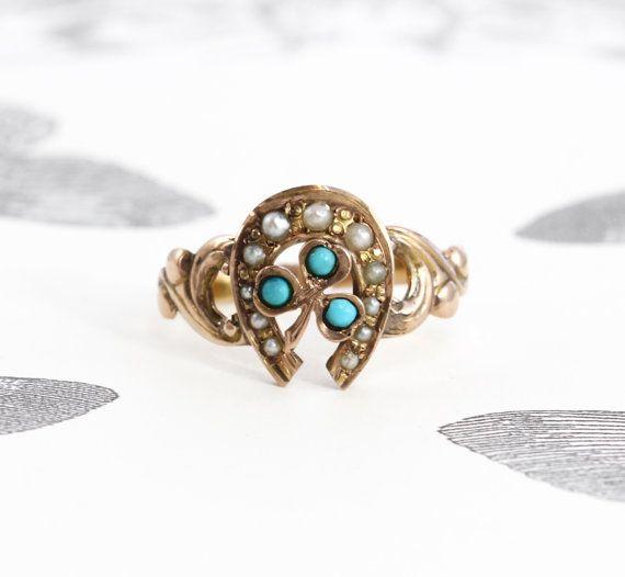 Antique Shamrock Horseshoe Ring Victorian 10k Rose Gold Turquoise
