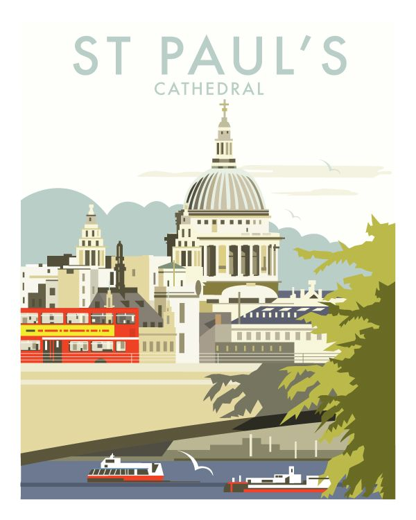 St Paul S Cathedral London By Dave Thompson Illustration Click Thru For 14 Scenes Total Travel Prints Travel Posters Vintage Travel Posters