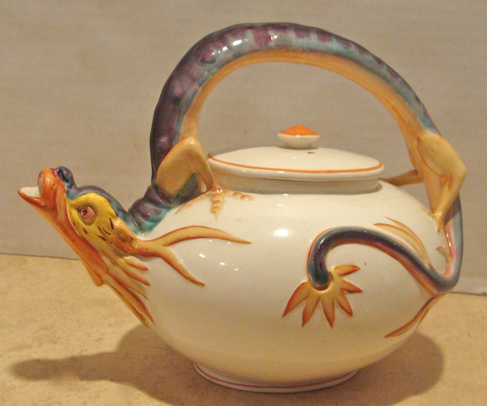 Rare Fantastic Antique 19th Century Wedgwood Majolica Dragon Teapot Tea Pots Novelty Teapots Ceramic Teapots