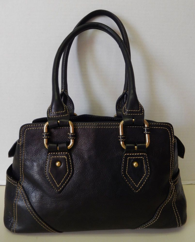Wilson's Black Genuine Leather Handbag Shoulder Bag Satchel Purse #WilsonsLeather #ShoulderBagSatchel
