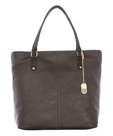 Look at this #zulilyfind! Dark Brown Leather Tote #zulilyfinds
