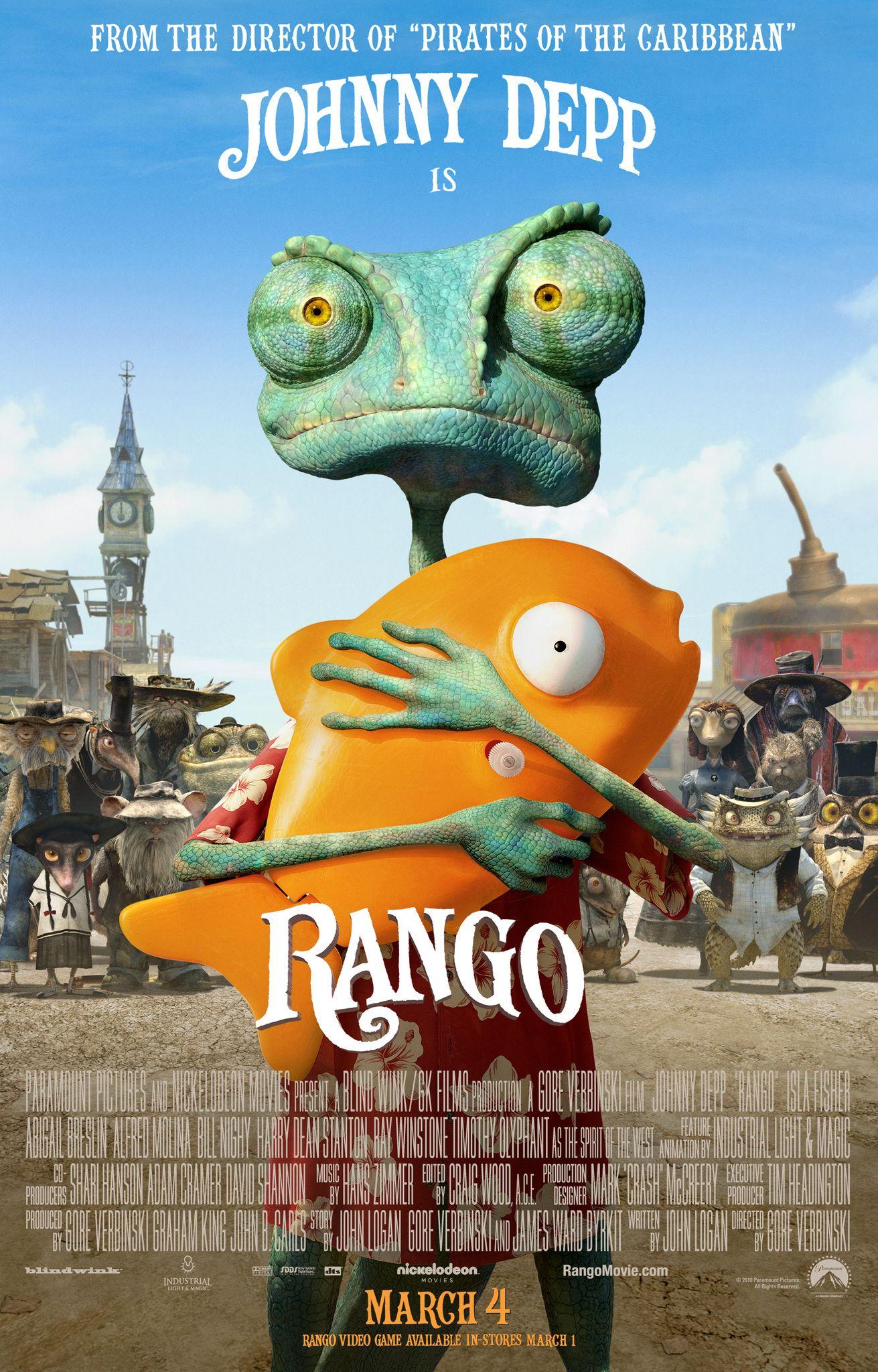 ★★★★Rango (2011) Animatie, Als een naamloze kameleon (Johnny Depp) uit zijn terrarium vrij komt, staat hij plots midden in de woestijn. Hij was zijn leventje tussen vier ramen toch al zat, maar wat nu? Een buidelrat stuurt hem op weg richting het stadje Dirt, ergens op de grens van beschaving. Daar doet de hagedis zich voor als Rango, een onverschrokken pistoolheld. Het stadje staat door gebrek aan water op het punt van uitdrogen. Het is aan Rango om Dirt van de ondergang te redden.