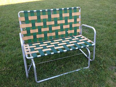 Vtg Aluminum Webbed Patio Lawn Porch Rocker Glider Double