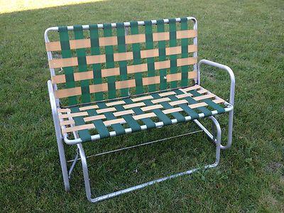 Vtg Aluminum Webbed Patio Lawn Porch Rocker Glider Double Chair