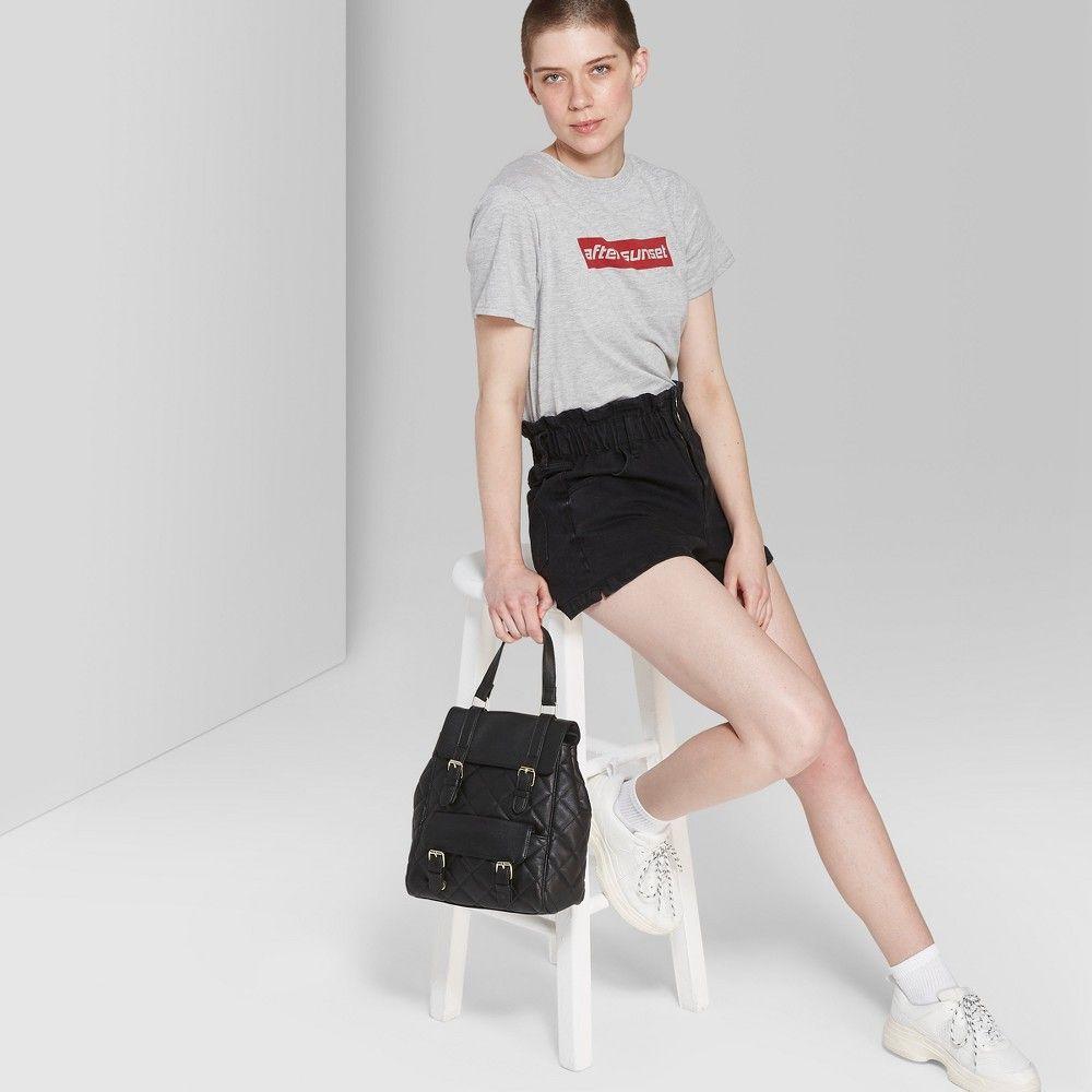 fde9e4469efe Women's High-Rise Paper Bag Waist Denim Shorts - Wild Fable Black Wash Xxl,  Gray