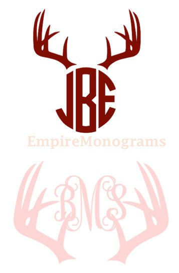Custom deer antler monogram decal car decal by empiremonograms