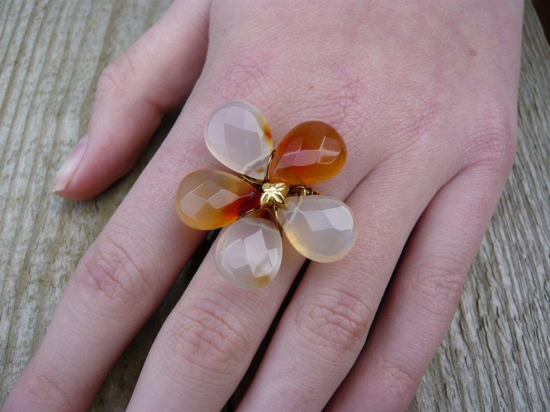 Carnelian pear ring size Q creams and oranges by JEWELLERYHANDMADECW on Etsy