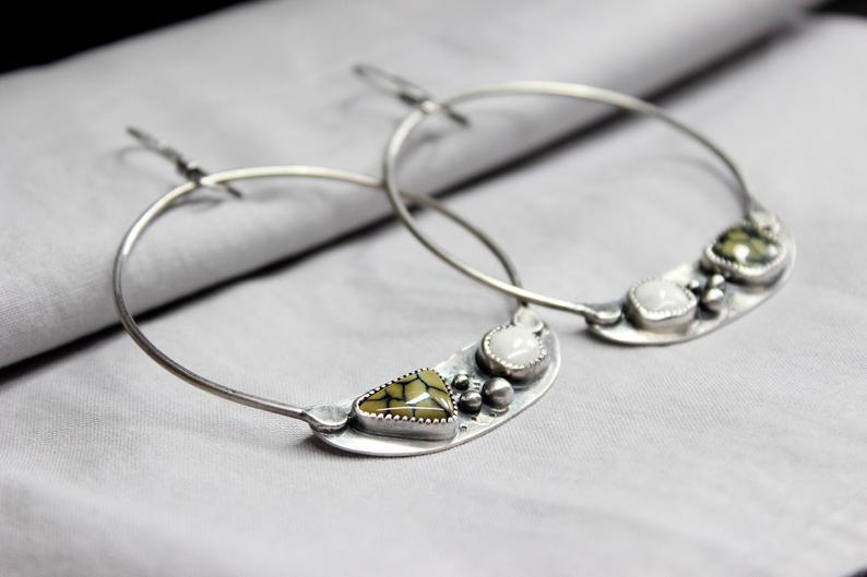 Two Stone Earrings Gugma Women/'s Jewelry New Lander Spiderweb x White Buffalo Turquoise Sterling Silver Dangle Hoop Earrings