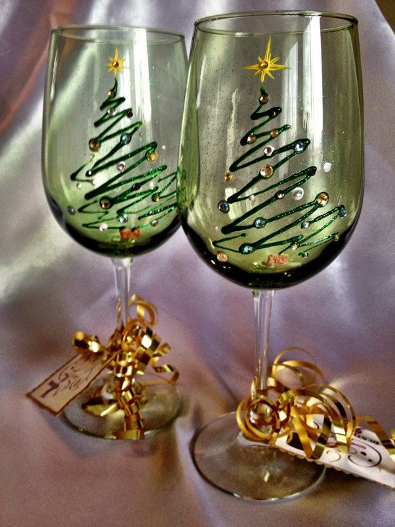 Hand painted christmas tree wine glasses by for Holiday wine glass crafts