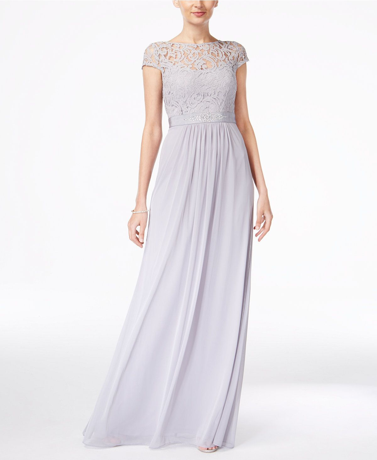Macy's party dresses weddings  Lace Illusion Gown  Daughter of Mine  Pinterest  Adrianna papell