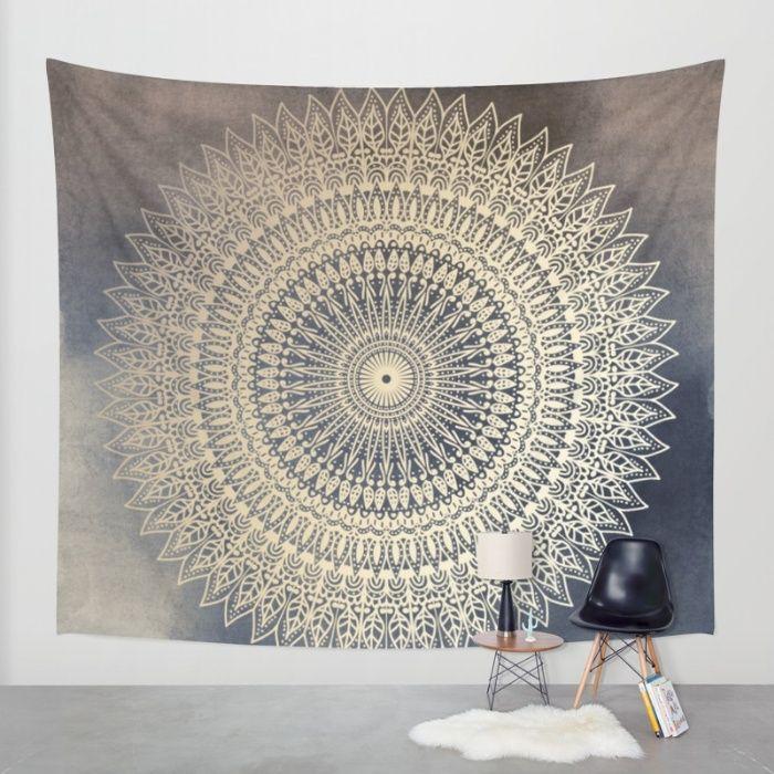 Desert Sun Mandala Society6 Com Wall Tapestry Yellow