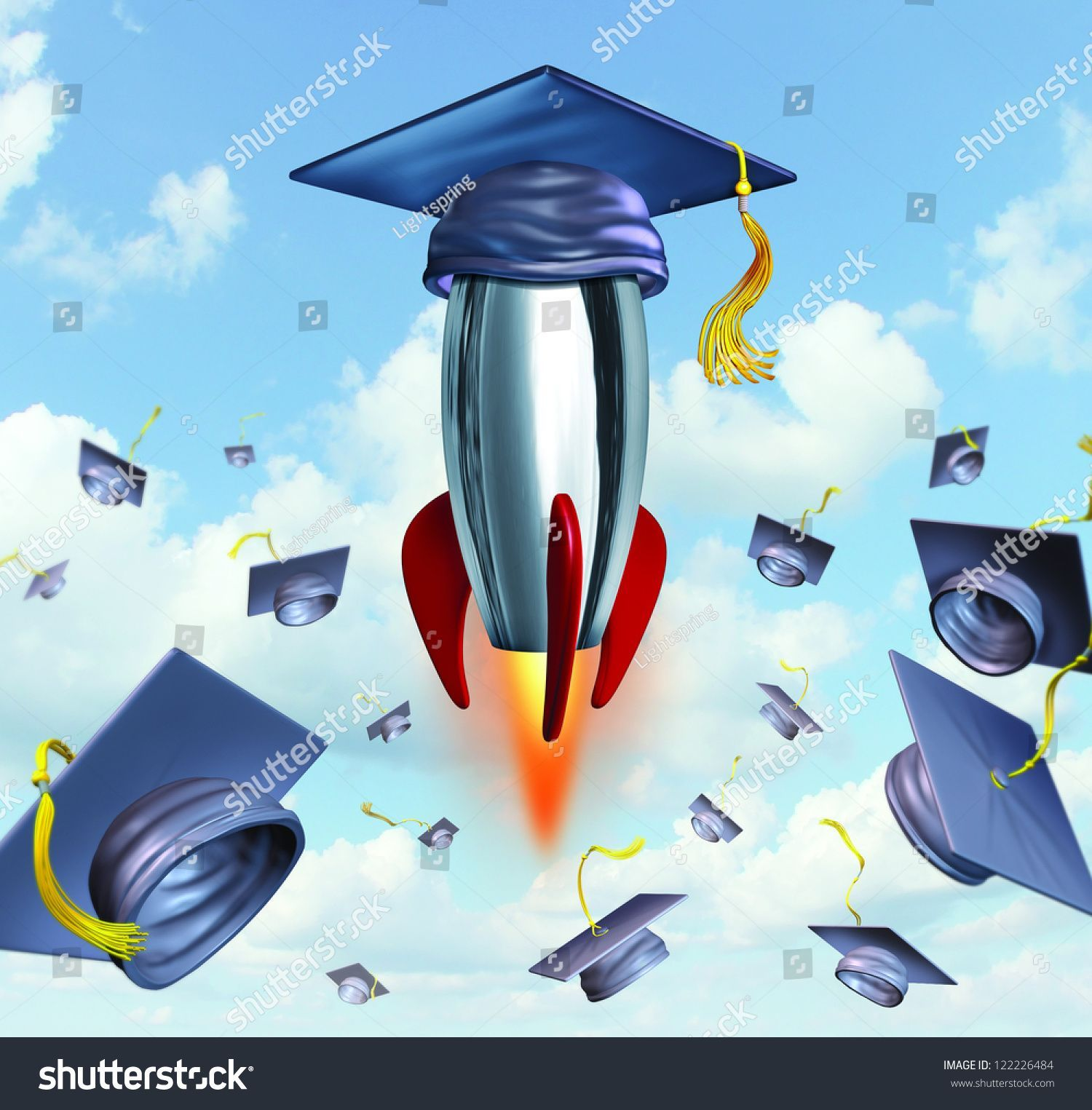 Education Success With Graduation Hats Thrown In The Air As A Celebration With A In 2020 Education Success Graduation Hat Graduation