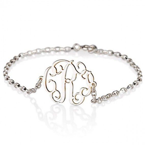 Sideways Silver Monogram Bracelet