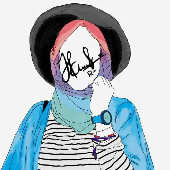 hijab illustration art doodling risnart