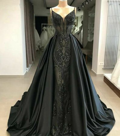Gothic Black Mermaid Evening Dress Gorgeous Arabic Formal Gowns Detachable Train Black Wedding Gowns Gothic Wedding Dress Black Wedding Dresses