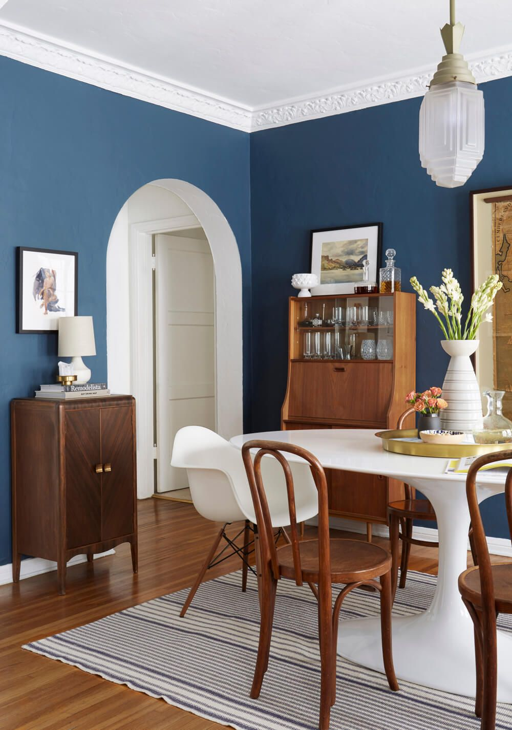 Ginny S Dining Room Reveal Emily Henderson Dining Room Blue Blue Dining Room Walls Dining Room Paint