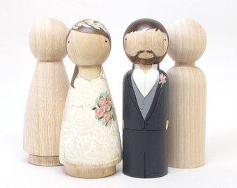 3 Peg Puppe Wedding Cake Toppers Braut Und Von Goosegreaseundone