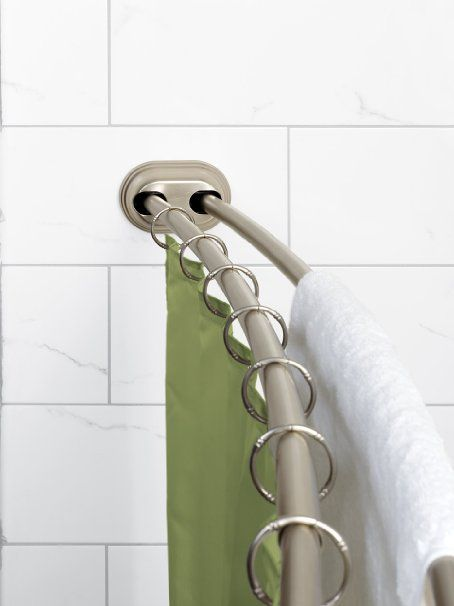 Curved Tension Shower Curtain Rod.Amazon Com Zenna Home 35644bn Neverrust Aluminum Double