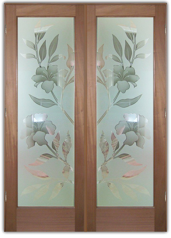 Hibiscus 2d Misted Glass Front Doors Etched Glass Door