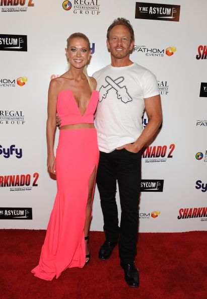 Tara Reid and Ian Ziering attend the premiere of The Asylum & Fathom Events' 'Sharknado 2: The Second One' at Regal Cinemas L.A. Live on August 21, 2014 in Los Angeles, California.