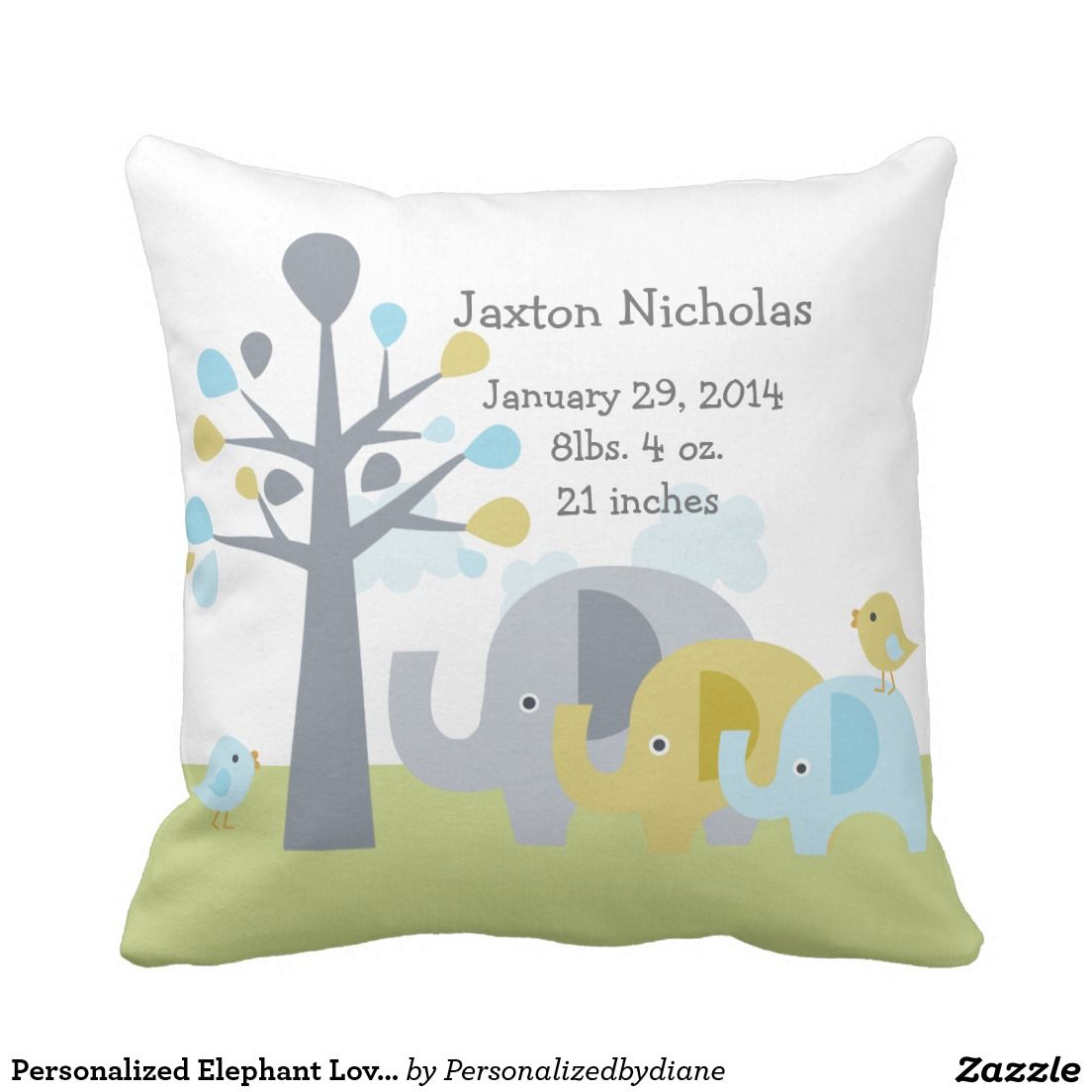 Personalized Elephant Love Pillow Keepsake
