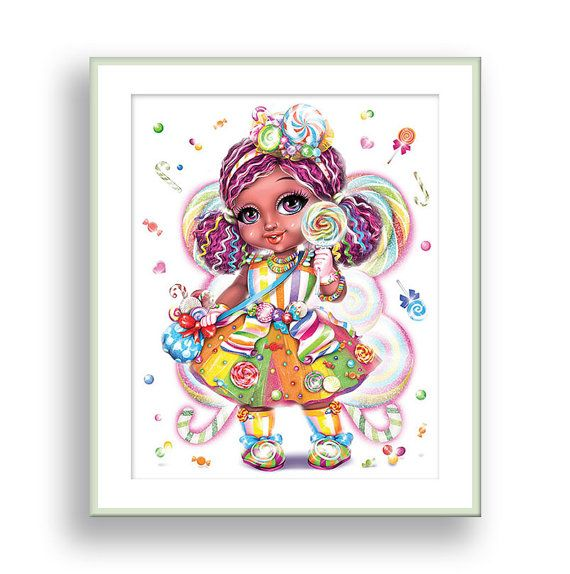 Fairy wall art candy girl nursery room decor sweet tooth poster african american children baby playroom princess also mother and daughter girls rh pinterest