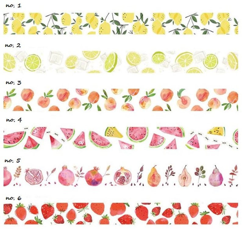 Japanese Washi Tape Summer Fruits Strawberry Lemon Peach Watermelon 6 Designs To Choose From 7 Metres Washi Tape Planner Washi Tape Washi