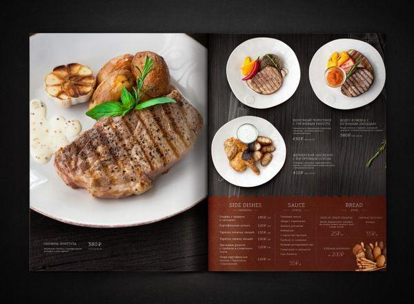 Speisekarte mit Abbildungen von Speisen