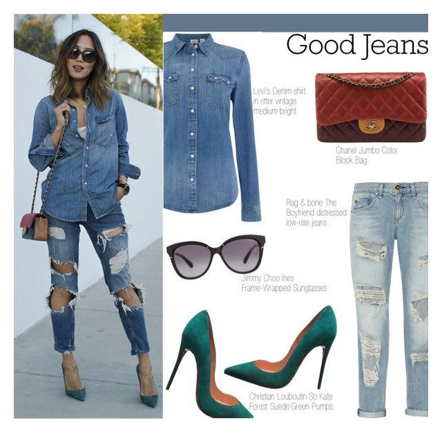 Good Jeans by igedesubawa on Polyvore featuring polyvore fashion style Levi's rag & bone Christian Louboutin Chanel Jimmy Choo clothing contest distresseddenim contestentry polyvorecontest