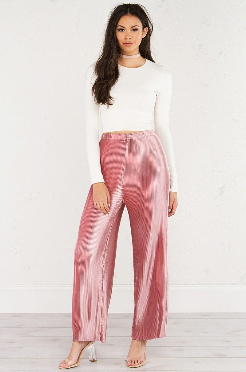 Front View of Pleated Satin Dressy Wide Leg Pants in Rose | Fashion ...