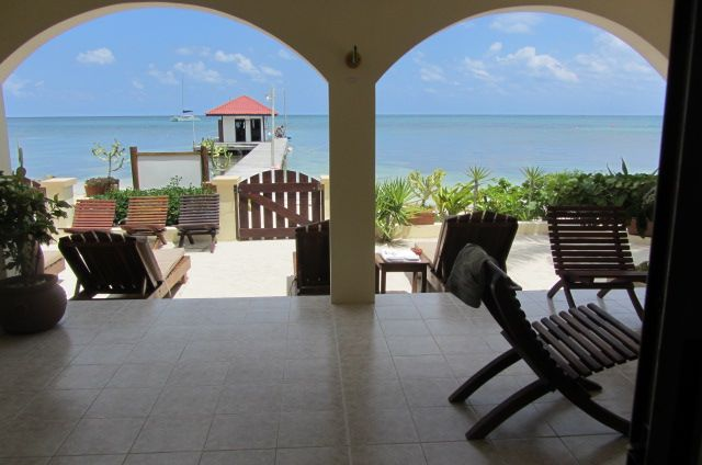 Patio at The Palms in San Pedro, Belize.