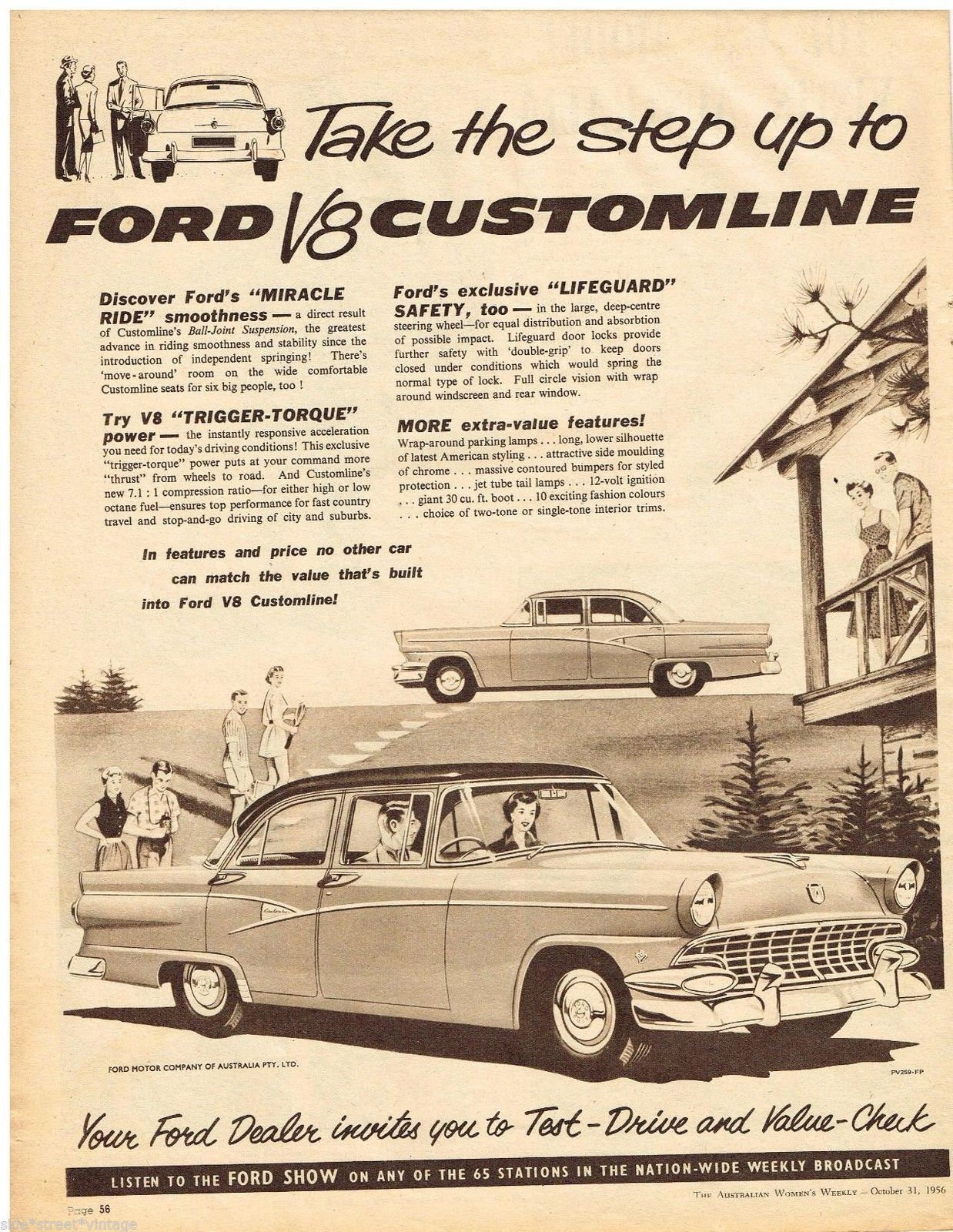 Ford V8 Customline CAR AD Australian Vintage Advertising 1956 ...