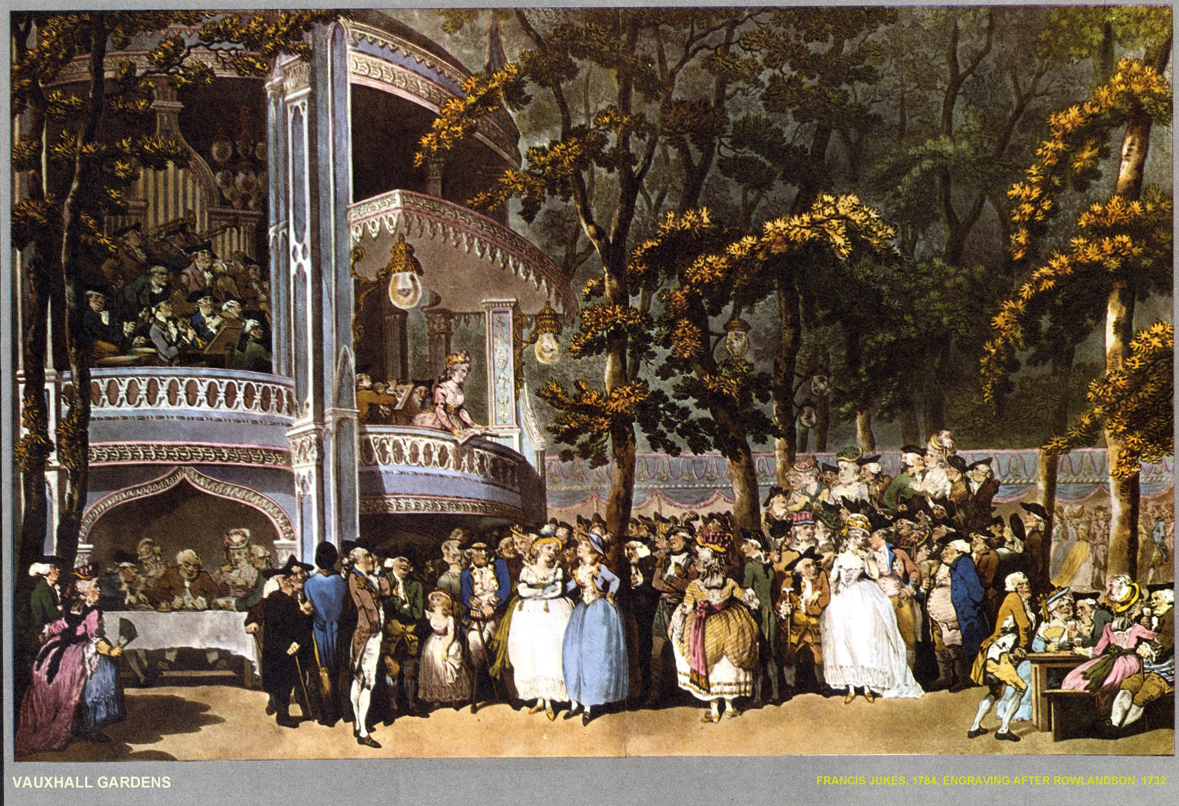 An illustration of Vauxhall Gardens by Thomas Rowlandson