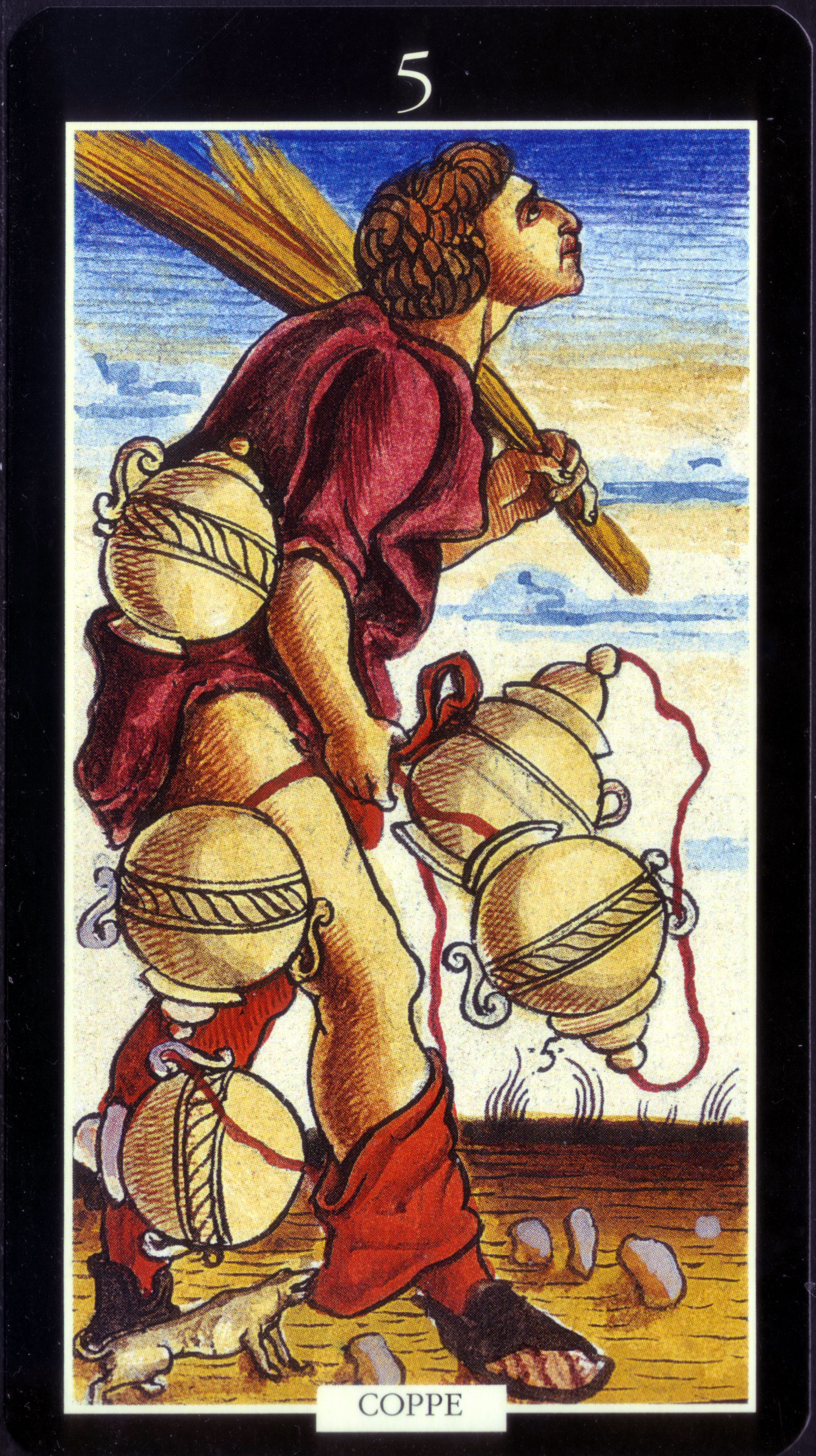 5 of cups from the sola busca tarot deck by lo scarabeo