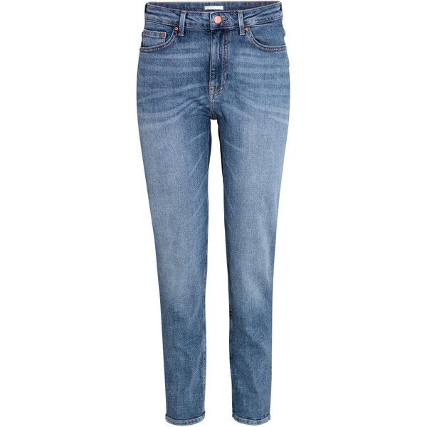 H&M Girlfriend Jeans ($46) ❤ liked on Polyvore featuring jeans, denim blue, ankle length jeans, h&m, tapered leg jeans, blue jeans and h&m jeans