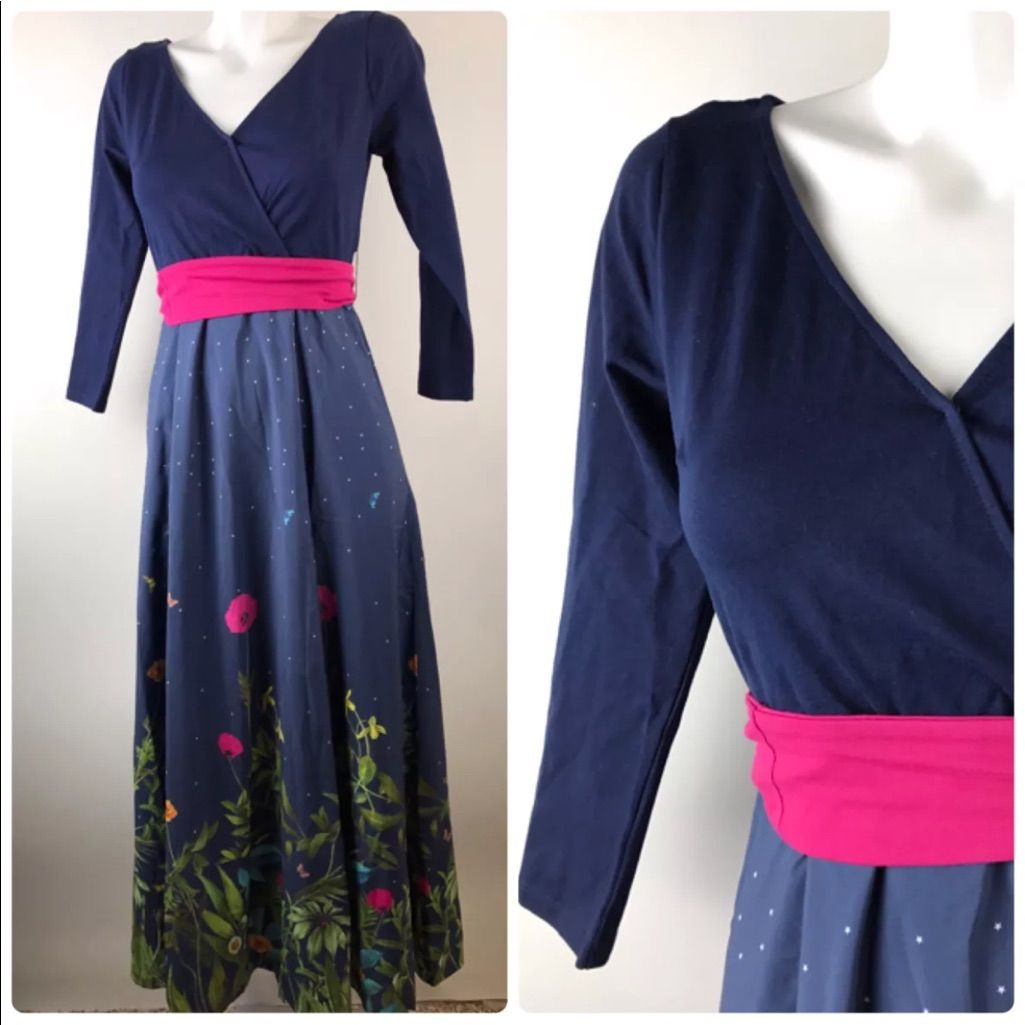 Eshakti navy floral dress maxi cotton long sleeve products